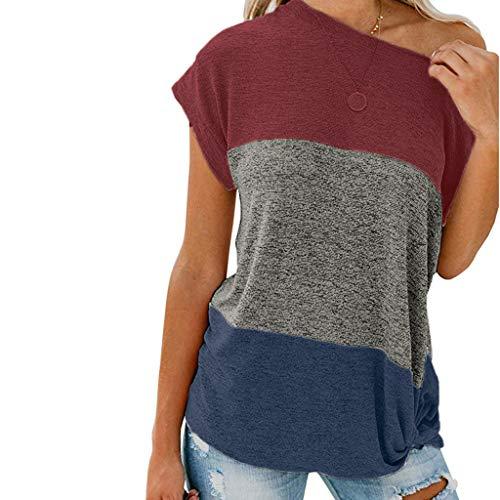 Longra Tops Damen Kurzarm T-Shirt Lose Shirt Sommer Oberteile Nähte geknotet Top Streifen Patchwork Kurzarm Oberteil Tops Bluse Rundhalsshirts Shirt -