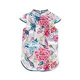 LEXUPE Kid Baby Girl Floral Kurzarm Cheongsam Party Prinzessin Kleid Kleidung(Blau,100)