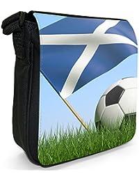 Scotland Scottish Flag with Black & White Football Small Black Canvas Shoulder Bag / Handbag