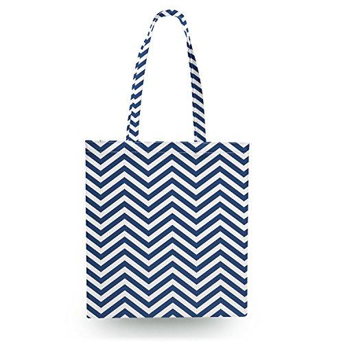 Queen of Cases Chevron Stripes Navy - Zipper Canvas Tote Bag - Canvas Tote Bag Shopper Tragetasche -