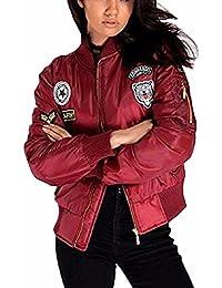 Auxo Chaud Blouson Femme Cool Bomber Veste Aviateur Classique Matelassé Vintage Manteaux Jacket Coat
