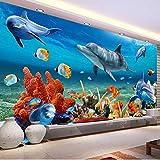 XCMB Benutzerdefinierte 3D Wandbild Tapete Für KinderDelphin Fisch Wandpapier Aquarium Wand Hintergrund Room Decor Kinder Bettwäsche Zimmer-120cmx100cm