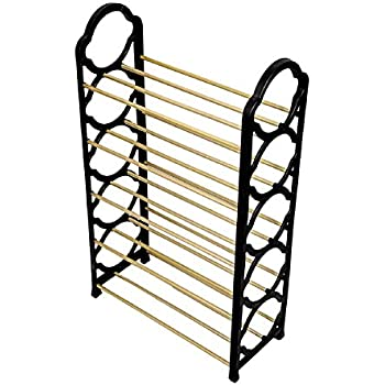 Ripple Stainless Steel 4 Layer Iron Shoe Rack Simple Standing (Black)