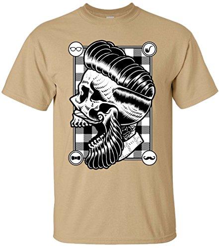 PAPAYANA - HIPSTER-SKULL - Herren T-Shirt - SWAG HIPSTER FACE BEART BARBER DOPE Khaki