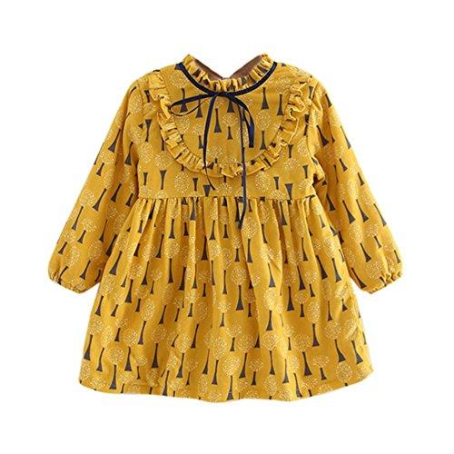 inzessin Kleider Kinder niedliche Schleife Lovely Baum Druck Tunika Tops Kleinkinder Lange Ärmel Kleidung für 1–5Jahre, gelb (Halloween-kostüm-ideen Für 1 Jahr Alt)