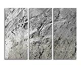 Abstraktes Leinwandbild 130x90 cm 3 teilige Fotoleinwand schwarz weiß Texture