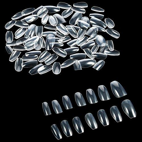 600 Stücke Sarg Nägel Gefälschte Nagelspitzen Full Cover Acryl Falsche Nägel 10 Größen für Nagelstudios und DIY Nagel Kunst (Klar) (Halloween Diy-sich Dekorationen)