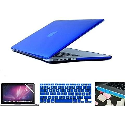 i-Buy Mate Caso de Shell duro + cubierta del teclado + Protector de pantalla + enchufe del polvo para Apple Macbook Pro 15 pulgadas con Retina Display(Modelo A1398)- Azul oscuro