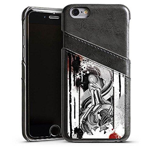 Apple iPhone 5 Housse étui coque protection Tatouage Rock n Roll Style Étui en cuir gris