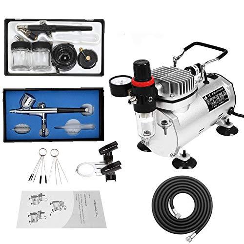 Aerografo professionale kit con compressore aerografo set multiuso con 1 aerografo 0.3mm dual azione gravity feed, 1 aerografo alimentazione sifone 0.8mm singola azione