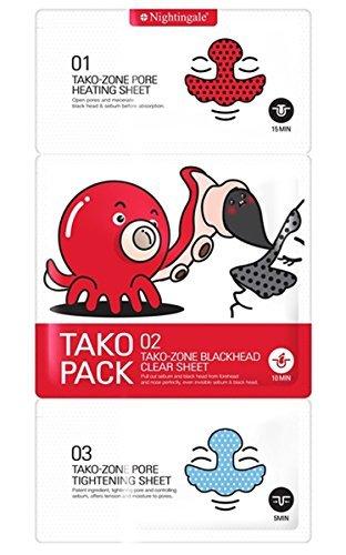 Nightingale Korean Cosmetics 3 Step Tako Pack Blackhead & Sebum Cleansing Solution 1 Pack(3 Sheets) -