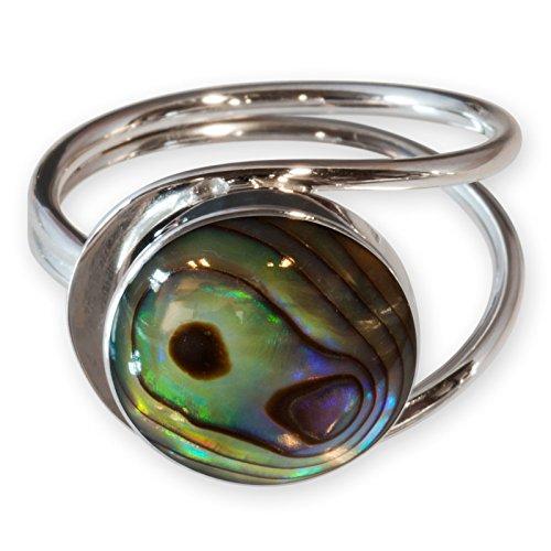 Fly Style Damen Finger-Ring Abalone Muschel Spirale echt Silber 925 risi026_pauamuschel