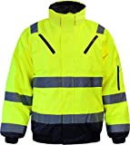normani Warnschutzjacke Arbeitsjacke Regenjacke Pilotenjacke Gr. S - XXXXL Farbe Neongelb/Marine Größe L