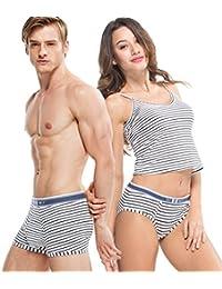 HÖTER® Baumwoll-Art-Streifen-Paar-Geliebt-Unterwäsche-Mens-Boxer-Frauen-Schriftsatz