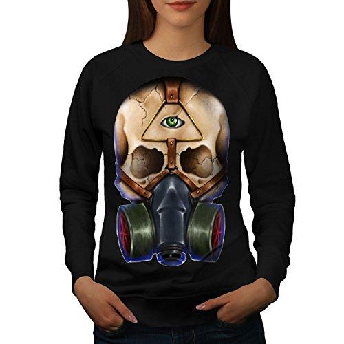Crâne Avec Masque Illuminati Femme S-2XL Sweat-shirt | Wellcoda Noir