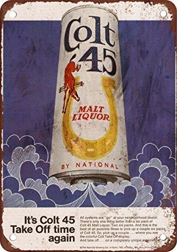 1969-colt-45-malt-liquor-e-luna-razzi-look-vintage-riproduzione-in-metallo-tin-sign-203-x-305-cm