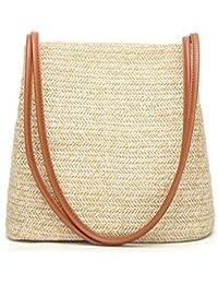 Karenon Tote da spiaggia in lino intrecciato Borsa da sacco in lino  intrecciato Erba Tote HandKnitting 7dd4ed46238