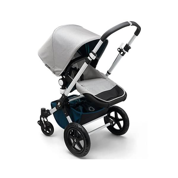 Bugaboo Cameleon³ Elements Pushchair (complete) Bugaboo Suitable from birth to a max. weight of 17kg 3 seat positions Padded adjustable 5 point harness Black leather-look handlebar and rotating carry handle Lightweight aluminium chassis Soft, herringbone fabric on bassinet, seat and sun canopy Gradient colour effect on the bassinet and back of seat Includes a matching, reversible seat inlay with leaf shape quilting 2