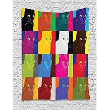 Soefipok Tapiz de decoración de Gatos, Estilo Pop Art. Cuadros con Retratos de Gatitos