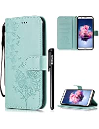 BtDuck HUAWEI P Smart Enjoy 7S Case Leather Wallet Case Butterfly Green Clear Phone Flip Book Cover Shockproof Magnetic Closure Case Flip Stand Card Holder Phone Protective Case Flower
