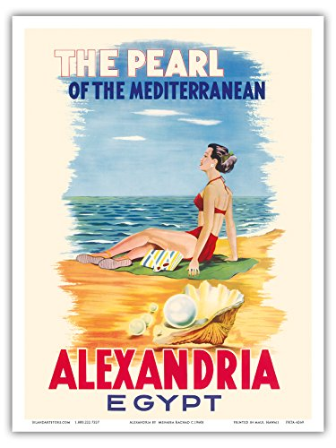 Price comparison product image Pacifica Island Art Alexandria, Egypt - The Pearl of the Mediterranean - Vintage World Travel Poster by Menassa Rachad c.1960s - Master Art Print - 9in x 12in