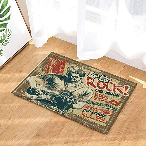 Home-entertainment-nussbaum (fdswdfg221 Retro Poster Decor Entertainment Rock and Roll People Playing Guitar in Vintage Bath Rugs Non-Slip Doormat Floor Entryways Indoor Front Mat Kids Bath Mat Bathroom)