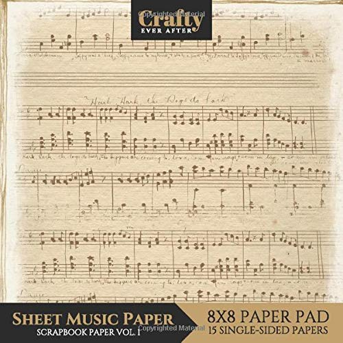 Sheet Music Paper Scrapbook Paper: Vintage Music Print Design 8x8 Single-Sided for Crafts Card Making Origami Scrapbooking Paper Pad 15 Sheets (Decorative Craft Paper, Band 5) -