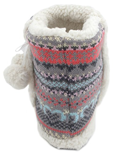 Pantofole donna Farisle maglia Bootie Pantofole Con Pompon Grey