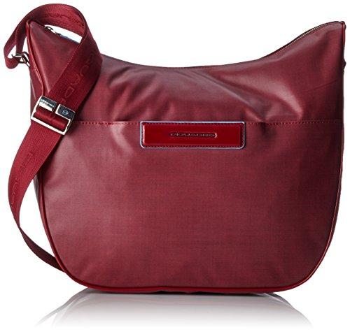 Piquadro Tracolla, Collezione Aki, in Pelle e Tessuto, 40 cm, Rosso