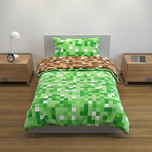 Bloomsbury Mill - Grün/Braunes doppelseitiges Bettwäsche Set - Einzelbett Bezug und Kopfkissenbezug (Druck-waschmaschine-trockner)