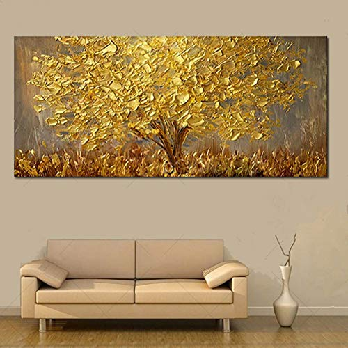 ZXMPGYH Pintura Cuchillo Pintura al óleo del árbol del Oro en la Lona Paleta Grande Pinturas 3D para la Sala de Estar Cuadros Abstractos Modernos