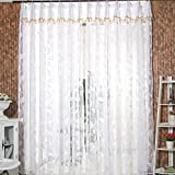 Rrimin Romantic Door Window Sheer Curtain Drape Panel Leaf Voile Tulle Screens (White)