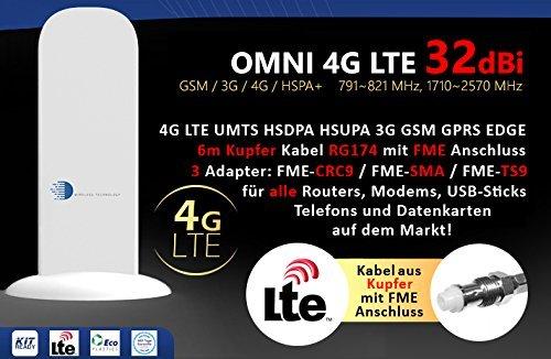 Stick Antenne Booster (HUKITECH 4G LTE UMTS HSDPA 3G GSM Antenne mit 32dBi Gewinn 6 Meter Kabel - Passend für Fast Alle Vodafone, O2 und T-Mobile 4G und 3G Modems, Routers, USB Sticks und Datenkarten auf Dem Markt)