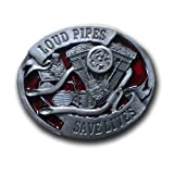 Buckle Gürtelschnalle Loud Pipes save Lives rot Biker Bikes Harley Motorcycle Motor + Geschenksäckchen