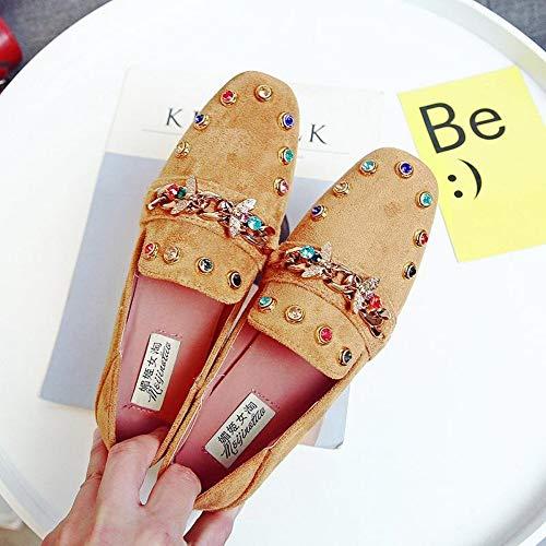 he Strass Schuhe Frauen Gelb Wohnungen Plus Size Mokassins Damen Faule Müßiggänger Slip On Lässige Mode Weibliche Schuhe Frühling Herbst, 39 ()