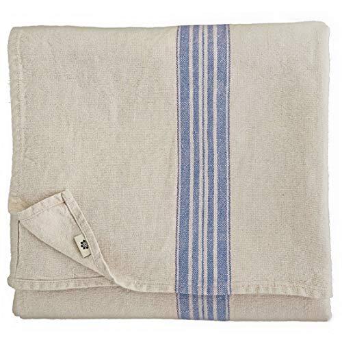 Linen & Cotton Vintage Shabby Chic Rustikal Tischdecke Provence - 100% Leinen, Beige Natur Blau (136 x 200 cm) Tischtuch Stoff Tischwäsche Rechteckig für Haus Home Küche Dekoration Wohnzimmer
