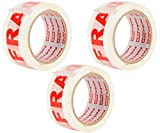 Packatape 3 rouleaux 48 mm x 66 m fragile adhésif d'emballage pour colis et boîtes