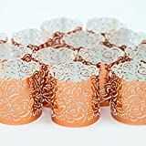 LED TEALIGHT CANDLE VOTIVE WRAPS - 48 Copper Coloured Decorative Tea Light Holders - Laser Cut Wraps Provide Unique Decor For Any Occasion - Wedding, Birthday, Centrepiece ( tea candles not included )