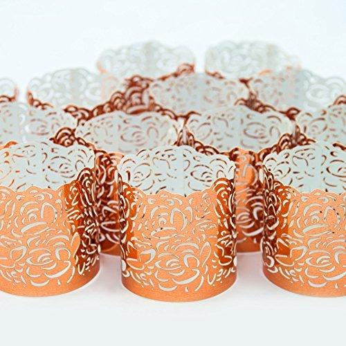 LED Teelicht Candle VOTIVE WRAPS - 48 Kupfer farbige dekorative Teelichthalter - Laser Cut Wraps bieten einzigartiges Dekor für jeden Anlass - Hochzeit, Geburtstag, Herzstück (Teelichter nicht im Lieferumfang enthalten)