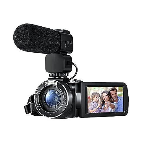 Ordro Full HD Digital Videokamera mit externem Mikrofon, Modell HDV-Z20 (inkl. 8GB SD-Karte als kostenlosen Bonus!) - Digital-Camcorder mit Profi-Kamera montiert Schrotflinte Boom-Mikrofon durch Emperor of Gadgets ®