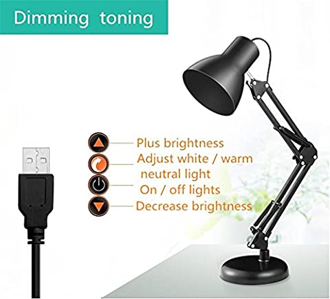 Clip Desk Lamp Flexible Long Swing Arm Led Desk Lamp 6W Eye-Care Led Table Lamp Multi-Joint Led Reading Light ,
