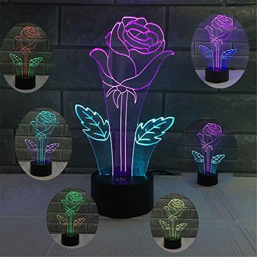 zer 3D Mix Dual Color Optische Illusion Nachtlicht 7 Farbwechsel Touch-Schalter USB Powered LED Halloween Dekoration Schreibtisch Lampe für Urlaub Geburtstag Geschenk Modern rose ()