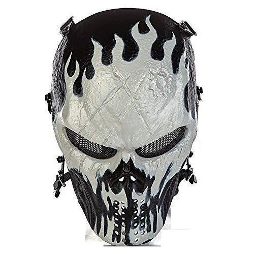 CQJDG Schutz Full Face Maske Totenkopf Skelett Maske für Airsoft/BB Gun/CS Spiel und Party, Jack-o'-Lantern