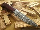 Asaz Bowie – Cuchillo de caza con vaina de piel y acero de Damasco