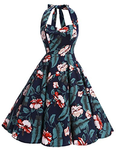 Bbonlinedress modèle 5 Vintage rétro 1950's Audrey Hepburn robe de soirée cocktail année 50 Rockabilly Navy Flower
