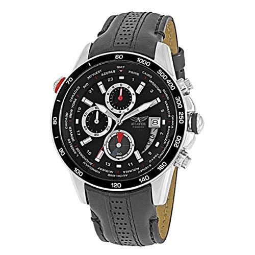 AVIATOR Herren Uhr watch Armbanduhr Chronograph AVW8974G76 Leder schwarz -