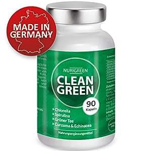 Detox Kur – 100% natürlicher Darmreiniger – vegan – Chlorella, Spirulina, Grüner Tee, Echinacea, Alpha-Liponsäure, Curcuma, Vitamin C – Monatskur – Darmsanierung & Darmreinigung – 90 Kapseln