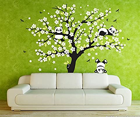 Yanqiao Panda Tree Sakura Wall Decal Stickers Removable Art Home Decorations DIY Wallpaper Easy to Apply 220*180CM/78.7*70.9