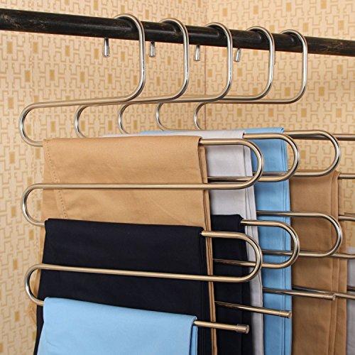 Kai Hosen (Mehrzweck-Metall Platz Storage Closet Kleiderbügel Space Saver Speicher Rack für hängende Jeans Hose Schal Krawatte Electroplated Silver)