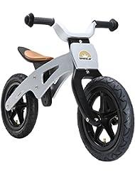 BIKESTAR® Original Premium Natur Holz Kinderlaufrad in trendigem Design ab 3 Jahren ★ 12er Retro Motobike Edition ★ Silver Star